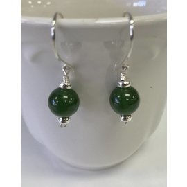 Patty Roy Jewelry Sterling Silver and Jade Earrings