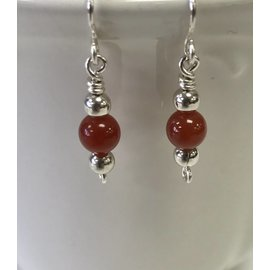 Patty Roy Jewelry Sterling Silver and Carnelian Earrings