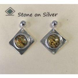 Stone on Silver Paua Shell Earrings
