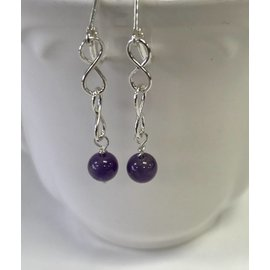 Stone on Silver Sterling Silver and Amethyst Earrings