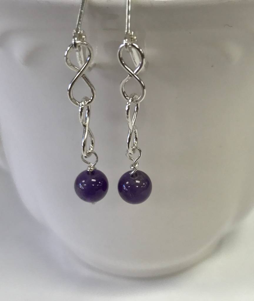 Stone On Silver Sterling And Amethyst Earrings