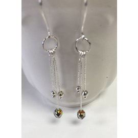 Stone on Silver Sterling Silver and Czech Glass Earrings