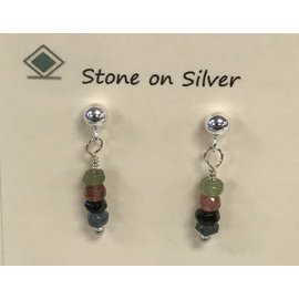 Stone on Silver Sterling Silver and Tourmaline Earrings