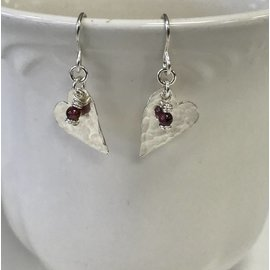 Patty Roy Jewelry Sterling Silver Heart with Garnet Earrings
