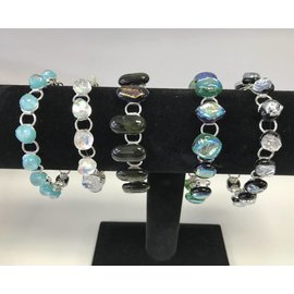 Donna Compagna Silver Plated Dicroic Glass Bracelet