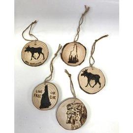 Samantha A Wood Pyrography Woodburned New Hampshire Ornament