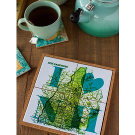 The Traveled Lane 2 in 1 Coaster / Trivet Set - I Love New Hampshire Map