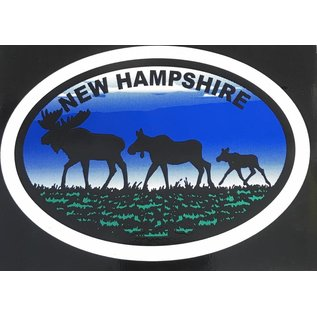 Eastern Illustrating Moose Family New Hampshire Decal / Sticker