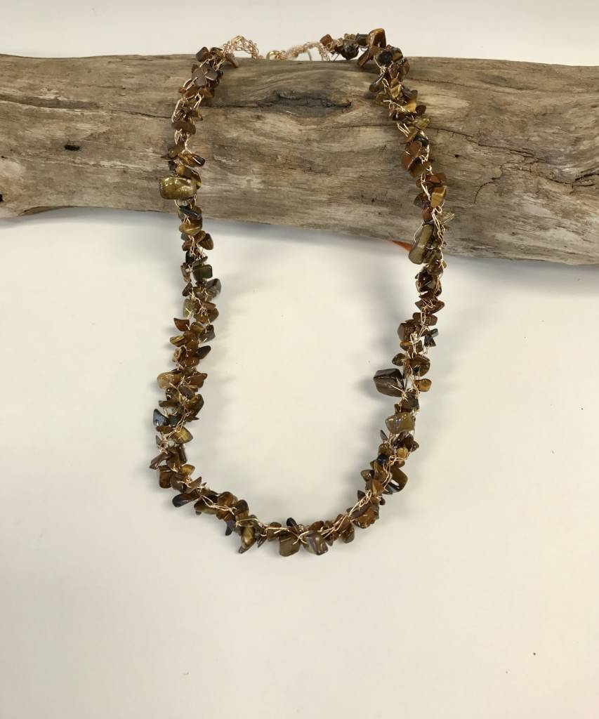 Copper Crochet Wire Necklace with Stone Chip Beads - Marketplace New ...