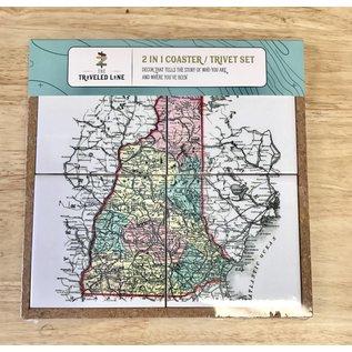 The Traveled Lane 2 in 1 Coaster / Trivet Set - Map of New Hampshire