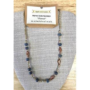Apple and Azalea Morse Code Bead Necklace