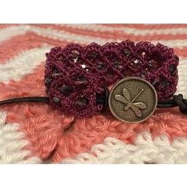 Jessica Hart Crochet Czech Bead Cuff Bracelet with Dragonfly Closure