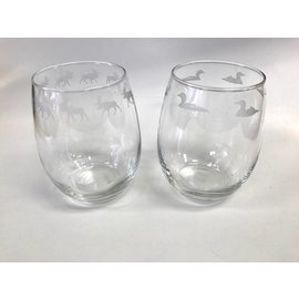 Glass Graphics Etched Stemless Wine Glasses