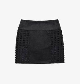 Cara Cheung Lattice Leather Skirt