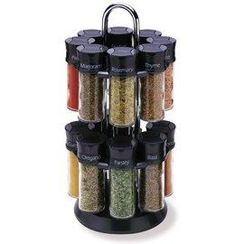 Olde Thompson Olde Thompson 16 Jar Carousel Spice Rack Black