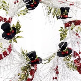 Melrose Melrose Glitter Top Hat Wreath 27 inch CLOSEOUT