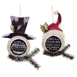 Melrose Melrose Chalkboard Saying Ornaments Assorted CLOSEOUT