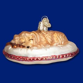 Old World Christmas OWC Dog Tired Ornament