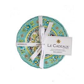 Le Cadeaux Le Cadeaux Madrid Turquoise Appetizer Plates 6.5 in. set of 4 CLOSEOUT