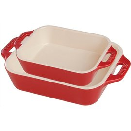 Staub Staub Ceramic Rectangular Baking Dish 2pc Set Cherry