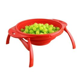 "Dexas Dexas Collapsible Silicone 10"" POP Colander Red"