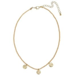 Canvas Jewelry Canvas Champagne Glass Bead Disc Layering Necklace 15""