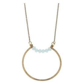 "Canvas Jewelry Canvas Open Geometric Pendant Necklace Aqua/Gold 26"" adjustable CLOSEOUT"