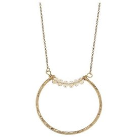"Canvas Jewelry Canvas Open Geometric Pendant Necklace Champagne/Gold 26"" adjustable CLOSEOUT"