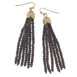 Canvas Jewelry Canvas Gray Ab/Gold Glass Bead Tassel Earrings