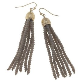 Canvas Jewelry Canvas Light Gray/Gold Glass Bead Tassel Earrings