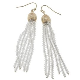 Canvas Jewelry Canvas Clear/Gold Glass Bead Tassel Earrings