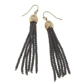 Canvas Jewelry Canvas Dark Gray/Gold Glass Bead Tassel Earrings CLOSEOUT