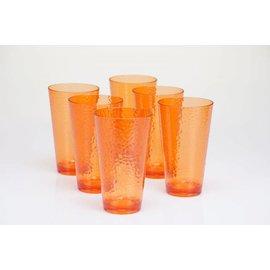 Certified International Certified International Orange Hammered Acrylic Iced Tea Glass 24 ounces