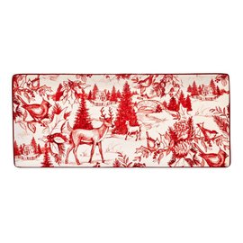 Certified International Certified International Winter Field Notes Toile Rectangular Tray 11x4.75 inch