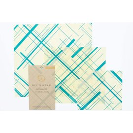 Bees Wrap Bee's Wrap ASSORTED 3 pack Geometric Print Everybody's Teal