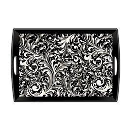 Michel Design Works Michel Design Works Decoupage Wooden Tray Black Florentine 20x13.75 inch