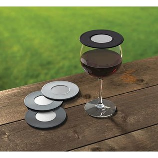 DrinkTops DrinkTops Ventilated Wine Glass Cover Set of 4 Black and Gray
