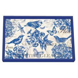 Michel Design Works Michel Design Works Vanity Decoupage Wooden Tray Indigo Cotton 12.25x7.75 inch