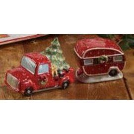 Certified International Certified International Home For Christmas 3D Truck and Trailer Salt & Pepper Set 2.75/2 inch