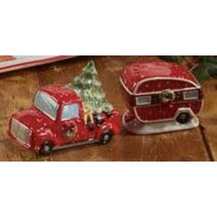 Certified International Certified International Home For Christmas 3D Truck and Trailer Salt & Pepper Set 2.75/2 inch