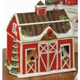 Certified International Certified International Christmas on the Farm 3D Barn Cookie Jar 10 inch