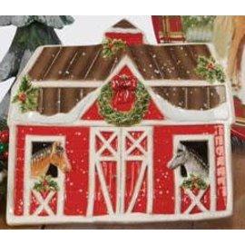 Certified International Certified International Christmas on the Farm 3D Barn Candy Plate 9x8 inch