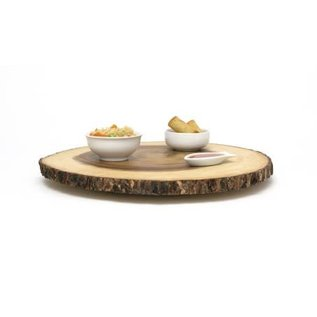 Lipper Lipper Acacia Large Slab Lazy Susan with Tree Bark Rim