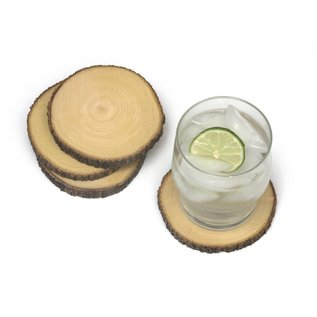 Lipper Lipper Acacia Tree Bark Coasters set of 4