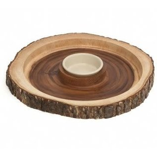 Lipper Lipper Acacia Tree Bark Chip & Dip Server
