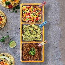 Prepara Prepara 3 Sectional Taco Tray Yellow