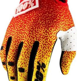 100% 100% Ridefit Full Finger Glove: Red/Yellow LG