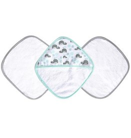JJ Cole JJ Cole Washcloth Set - Aqua Whales