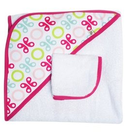 JJ Cole JJ Cole Hooded Towel Pink Butterfly