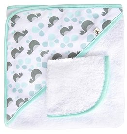JJ Cole JJ Cole Hooded Towel - Aqua Whales